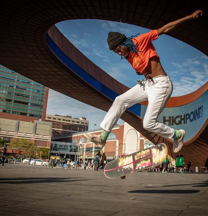 skate in front of the Barclays Center Brooklyn