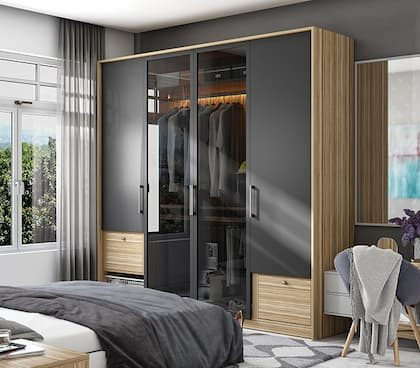 modern black and beige wardrobe in the bedroom with bedding side table and grey chair