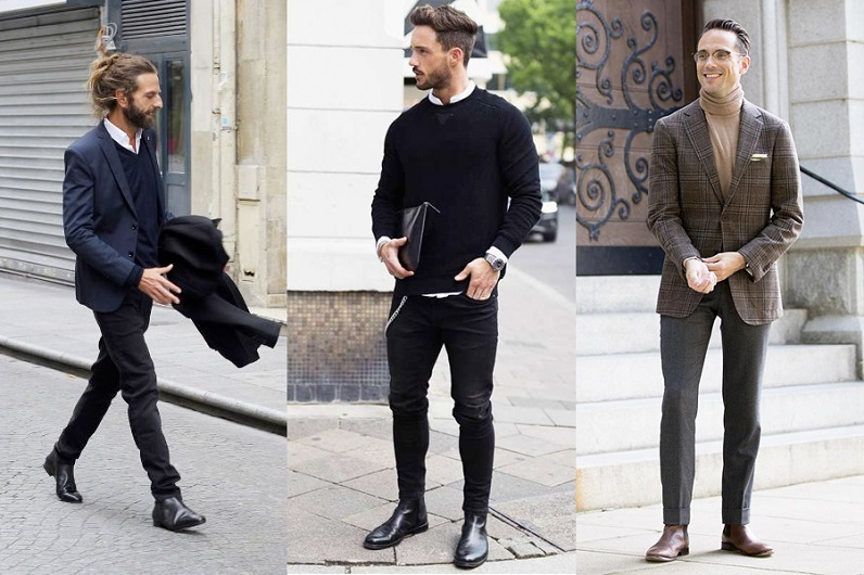 3 different man dressed in casual , smart and business attire